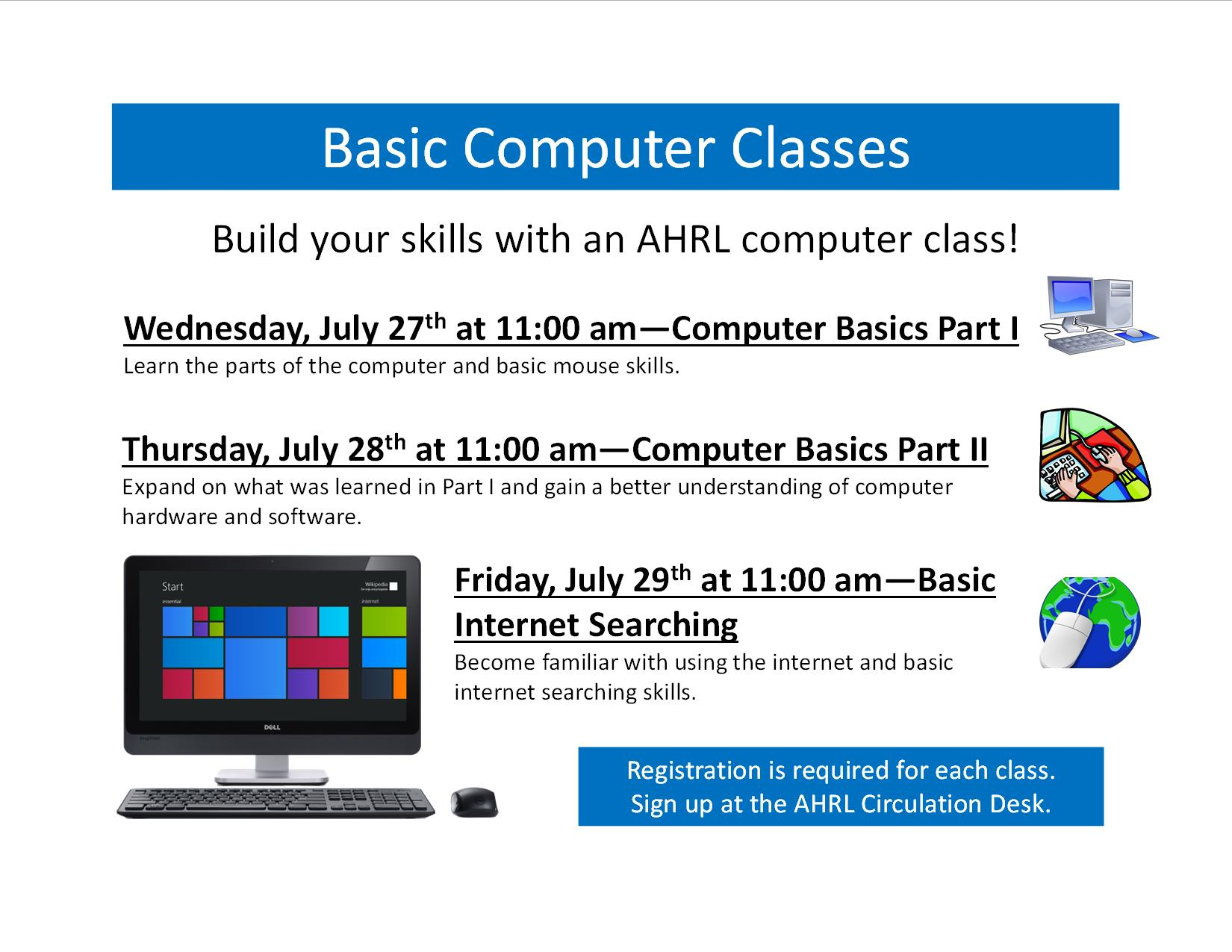 Basic computer classes being offered at AHRL! - Alleghany ...
